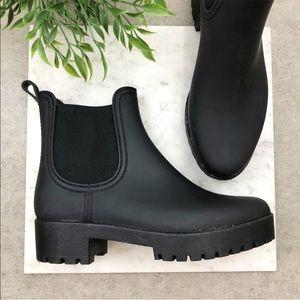 Jeffrey Campbell Matte Black Rain Ankle Boots